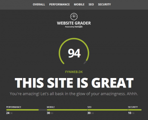 Fynweb website grader results